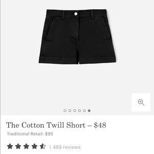 Everlane High Waisted Black Denim Shorts